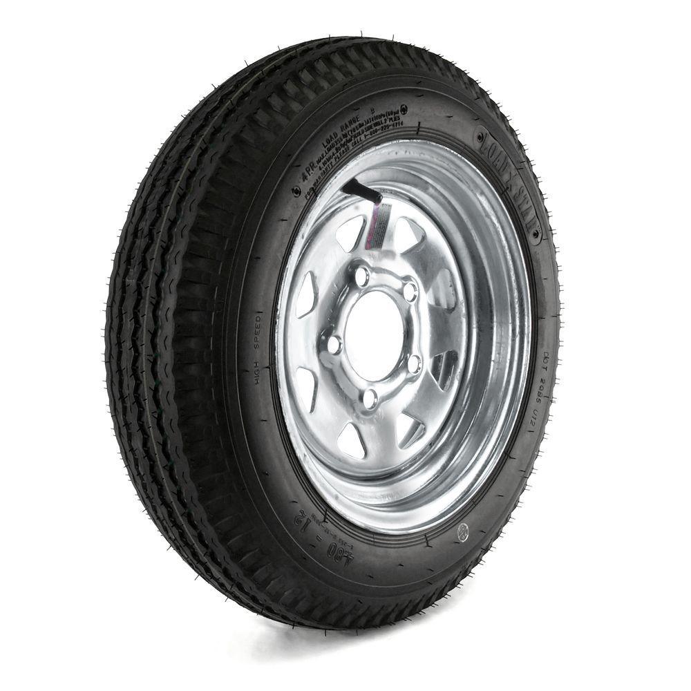 480-12 Load Range B 5-Hole Galvanized Spoke Trailer Tire and Wheel Assembly