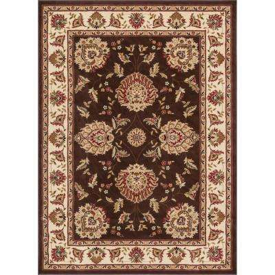 Timeless Abbasi Brown Beige 4 ft. x 5 ft. Traditional French Country Area Rug