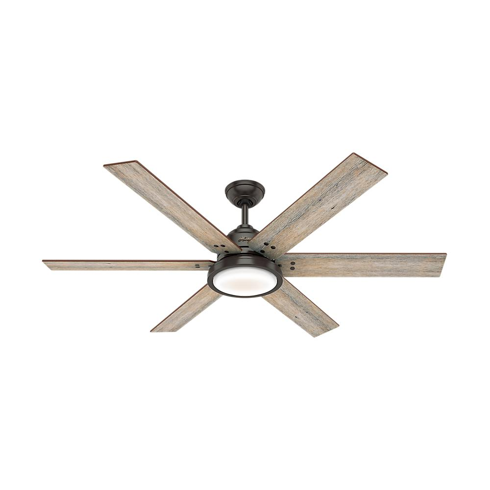 Hunter Warrant 60 in. Integrated LED Indoor Noble Bronze Ceiling Fan with Light and Remote Control