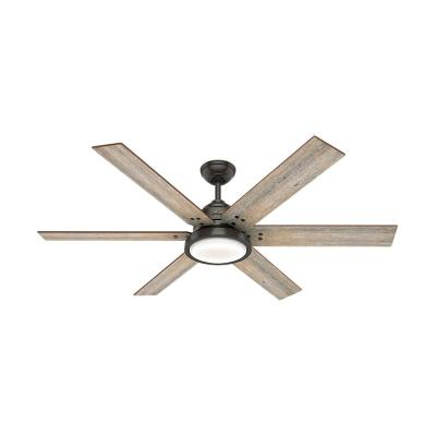 Warrant 60 in. Integrated LED Indoor Noble Bronze Ceiling Fan with Light and Remote Control