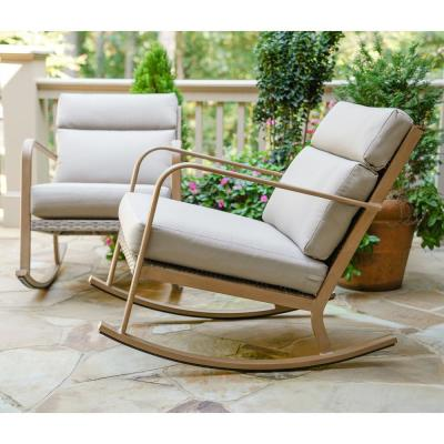 Talbot Aluminum Outdoor Rocking Chair with Tan Cushions (2-Pack)