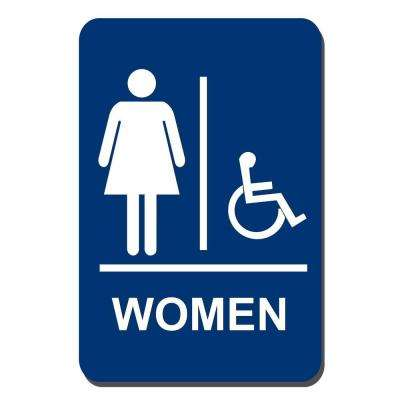 6 in. x 9 in. Women Accessible Braille for Latch Side of Door Sign