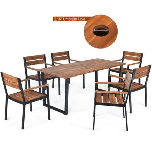 7-Pieces Rectangle Wood Outdoor Dining Table