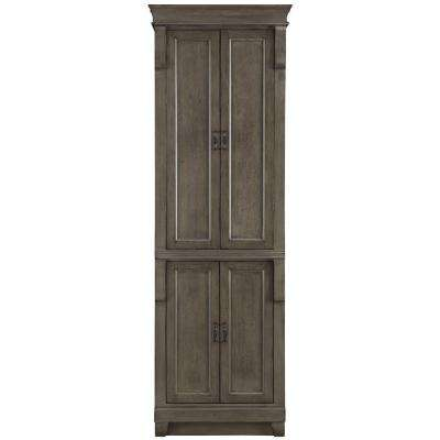 Naples 24 in. W  x 74 in. H x 17 in. D Bathroom Linen Cabinet in Distressed Grey