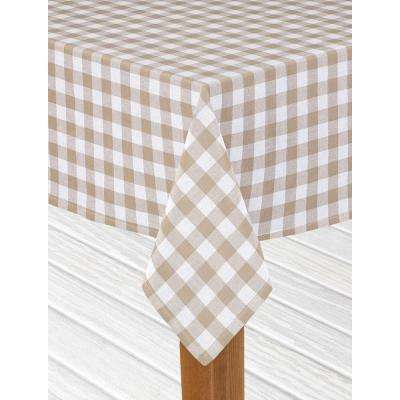 Buffalo Check 52 In. X 70 In. Sand 100% Cotton Table Cloth For