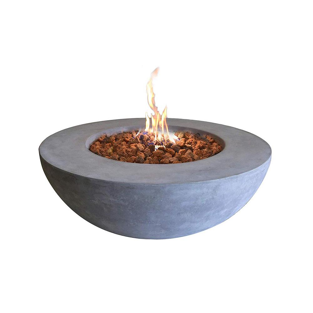 Elementi Elementi Outdoor Lunar Fire Bowl 42 in. Round Stainless Steel Natural Gas Fire Pit Table Glass with Reinforced Concrete