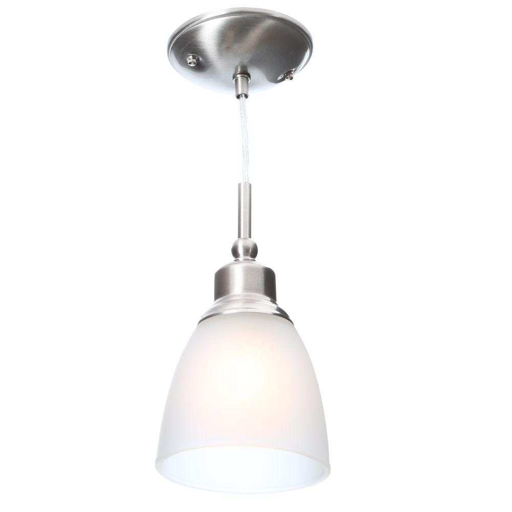 Commercial Electric 1-Light Brushed Nickel Mini Pendant with Frosted ...