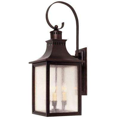 3 Light Wall Mount Lantern English Bronze Finish Pale Cream Seeded Glass
