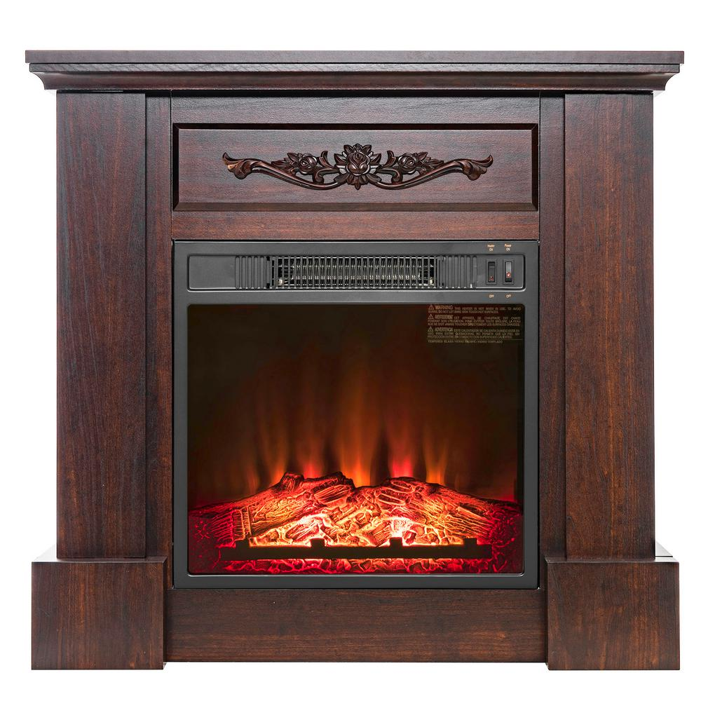 32 in. Freestanding Electric Fireplace Insert Heater in Black