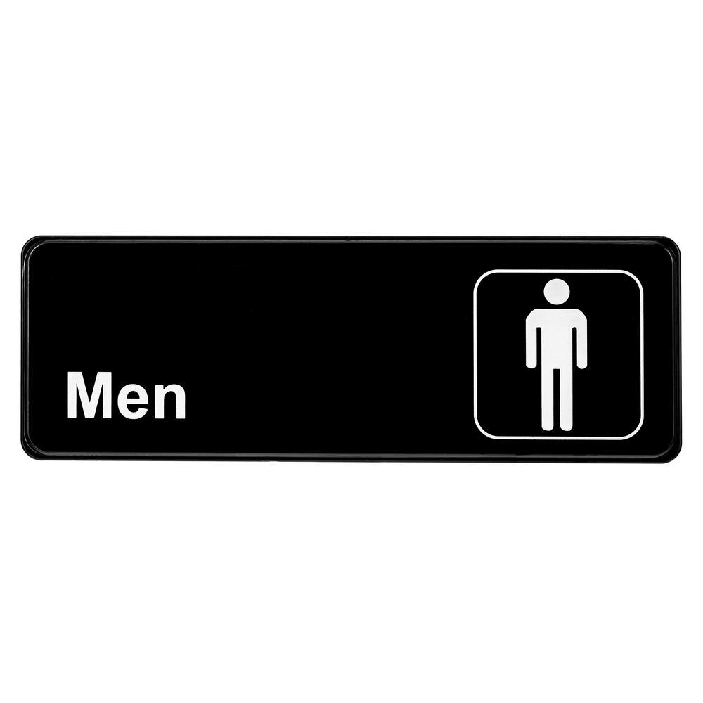 9 in. x 3 in. Black Men Restroom Sign