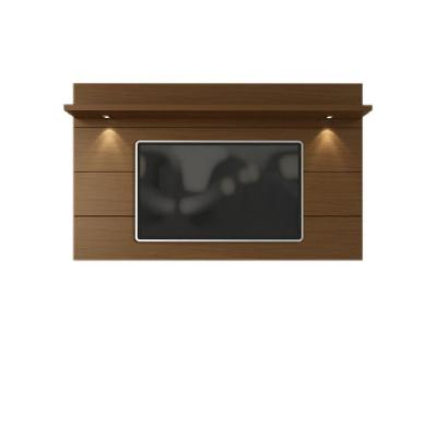 Cabrini 86 in. Nut Brown Particle Board Entertainment Center Fits TVs Up to 70 in. with LED Lights