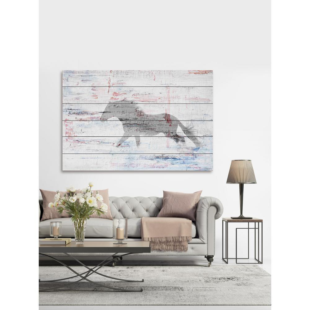 W Grey Horse Trot By Parvez Taj Printed White Wood Wall Art