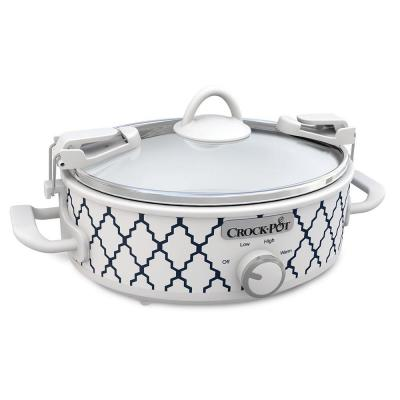 Casserole Crock 2.5 Qt. White and Blue Slow Cooker