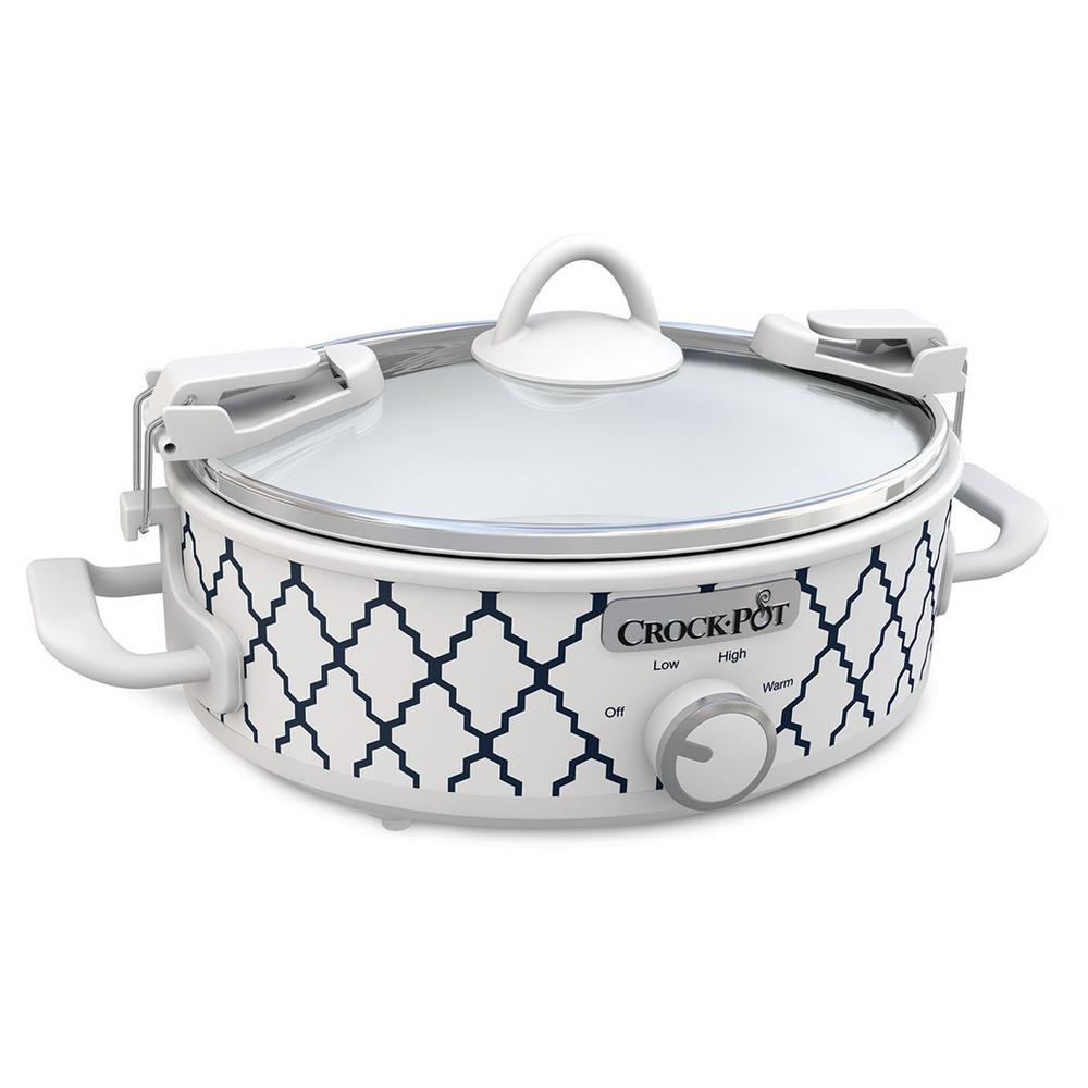 2.5 Qt. Casserole Crock Oval Slow Cooker White/Blue Pattern The Crock-Pot Casserole Crock makes family dinners, potlucks and parties easier than ever. Its rectangular design is the perfect size and shape to prepare everyone's favorite casserole dishes, lasagna, desserts and more. It's ideal for make-ahead meals you and your family can come home to - simplifying mealtime. The unique stoneware is also oven-safe for use in conventional ovens to cook and warm. With portability in mind, the Casserole Crock uses our Cook & Carry locking lid system for easy transport, without spills or mess. It also makes entertaining easy so you can prepare a casserole or dish in advance, then let it slow-cook. You can enjoy your guests or get to other party preparations. When your kitchen oven is working on overload, the Crock-Pot Casserole Crock can be your lifesaver by freeing up space in the oven. Color: White/blue.