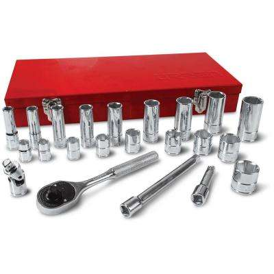 3/8 in. Drive 6-Point Hand Socket & Accessories Set (22-Piece)