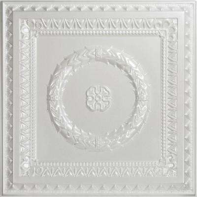Laurel Wreath 2 ft. x 2 ft. PVC Lay-in or Glue-up Ceiling Panel in White Pearl (100 sq. ft. / case)