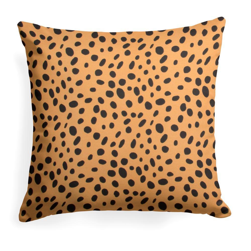 Malibu Orange Square Outdoor Throw Pillow