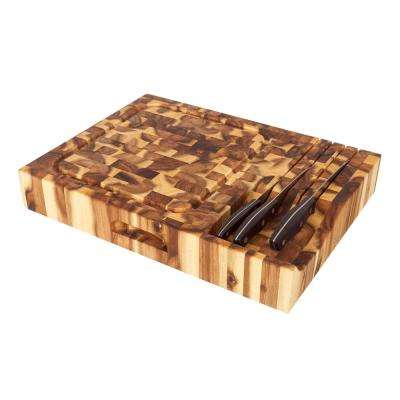 14 in. x 19 in. x 3 in. Thick Massive End Grain Cutting Board with Built in Knife Holder