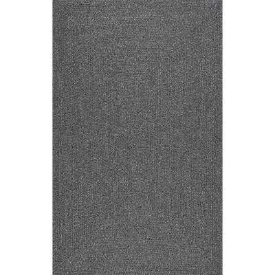 Braided Lefebvre Charcoal Indoor/Outdoor 4 ft. x 6 ft. Area Rug
