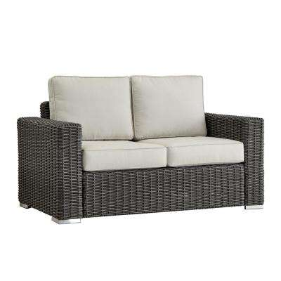 Camari Charcoal Square Arm Wicker Outdoor Loveseat with Beige Cushion