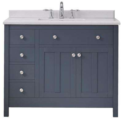 Newcastle 42 in. W x 21 in. D Vanity in Dark Charcoal with Cultured Marble Vanity Top in White with White Basin