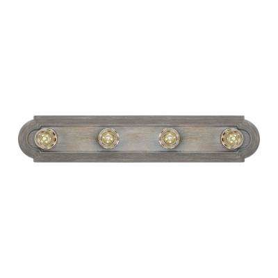 De-Lovely 24 in. W 4-Light Washed Pine Hollywood Bathroom Vanity Light with Chrome Light Bulb Sleeves