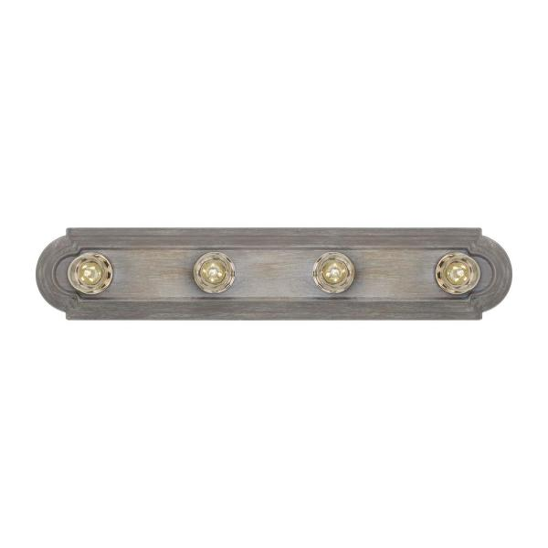 De-Lovely 24 in. W 4-Light Washed Pine Farmhouse Hollywood Bathroom Vanity Light with Chrome Light Bulb Sleeves