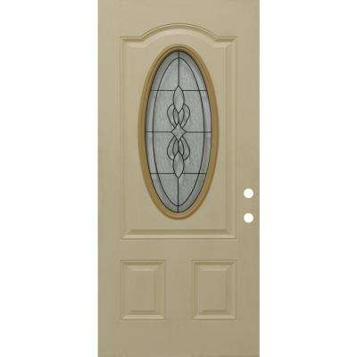31-3/4 in. x 79 in. Jamestown Decorative 3/4 Oval Left-Hand Inswing Primed Tan Textured Fiberglass Front Door Slab