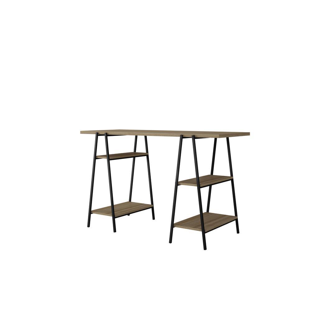 Manhattan Comfort Ellis Home Office Desk with 4-Shelves in Dark Oak