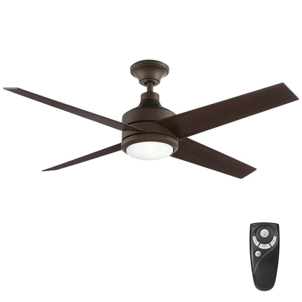 Home decorators collection mercer 52 in integrated led indoor oil home decorators collection mercer 52 in integrated led indoor oil rubbed bronze ceiling fan with light kit and remote control 54729 the home depot aloadofball Choice Image
