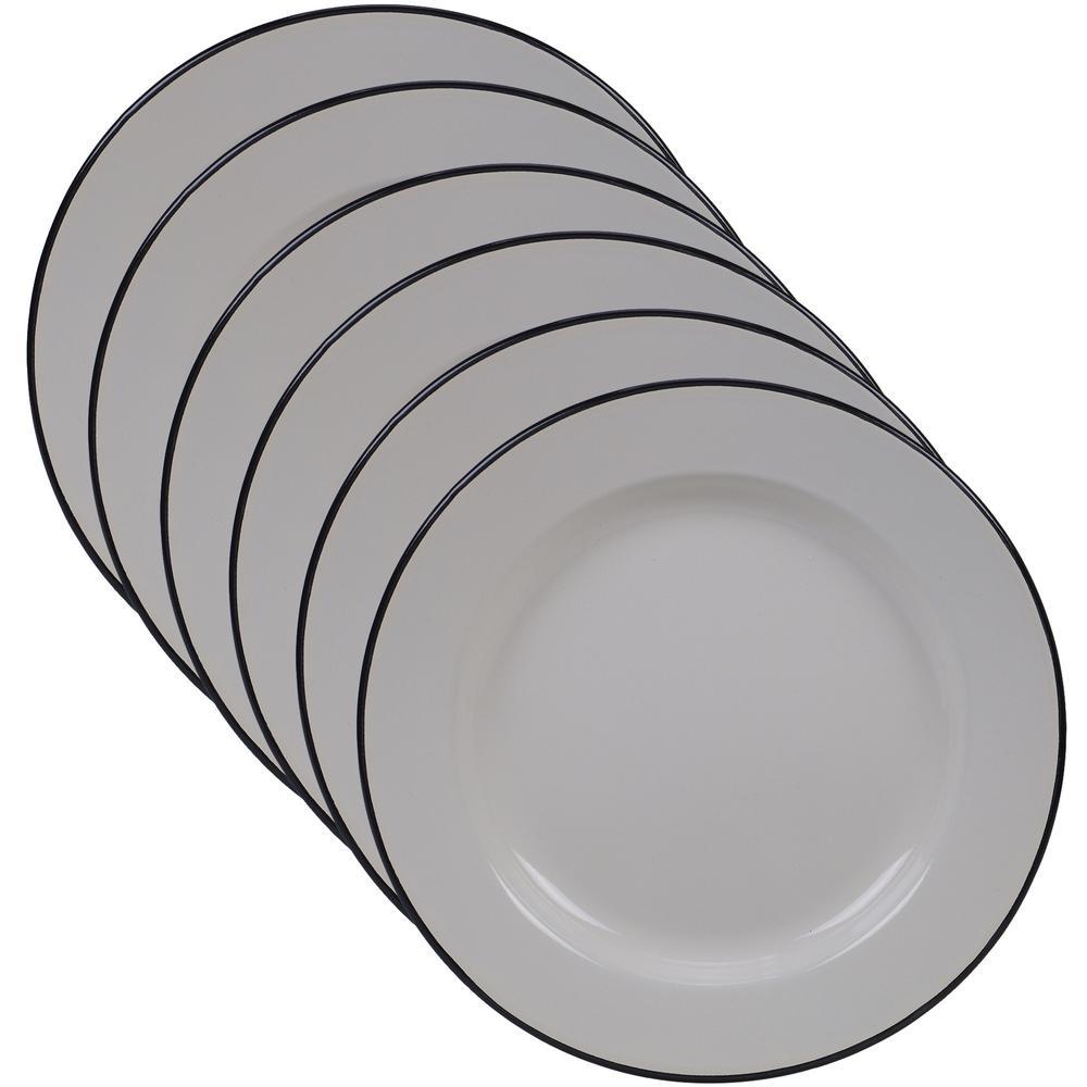 Certified International Enamelware 6-Piece Cream 10.25 in. Dinner Plate Set
