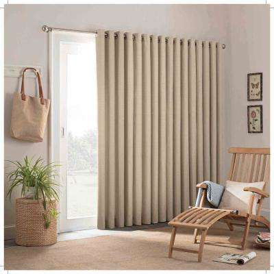 100 in. W x 84 in. L Key Largo Polyester Patio Door Window Panel in Oatmeal