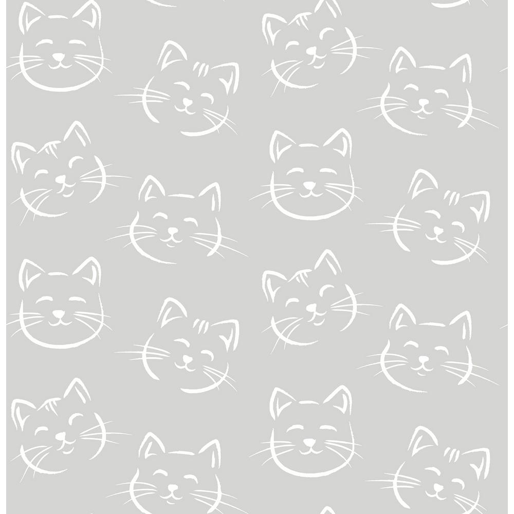 Brewster 56 4 Sq Ft Purr Grey Cat Wallpaper Hn002614 The Home Depot