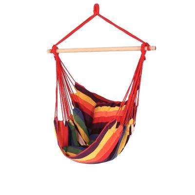 3.5 ft. Fabric Hanging Hammock Swing with Two Cushions in Sunset