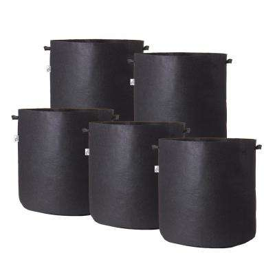 19 in. x 19 in. 25 Gal. Breathable Fabric Pot Bags with Handles Black Felt Grow Pot (5-Pack)