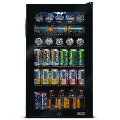 19 in. 126 (12 oz) Can Freestanding Beverage Cooler Fridge Chills Down to 34° with Adjustable Shelves - Modern Black