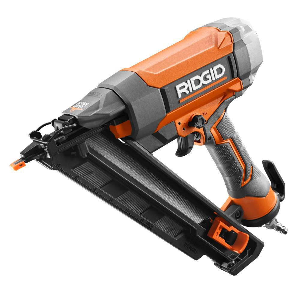 RIDGID 15-Gauge 2-1/2 in. Angled Finish Nailer with CLEAN ...