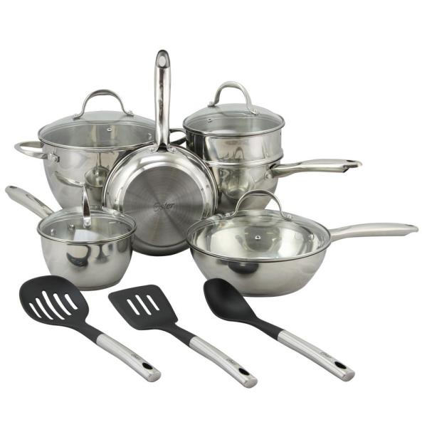 Oster Ridgewell 13-Piece Stainless Steel Cookware Set with Lids