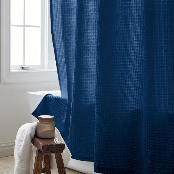 The Company Store Basket Weave 72 in. True Navy Shower Curtain
