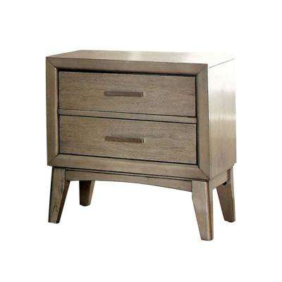 2-Drawer Gray Contemporary Night Stand