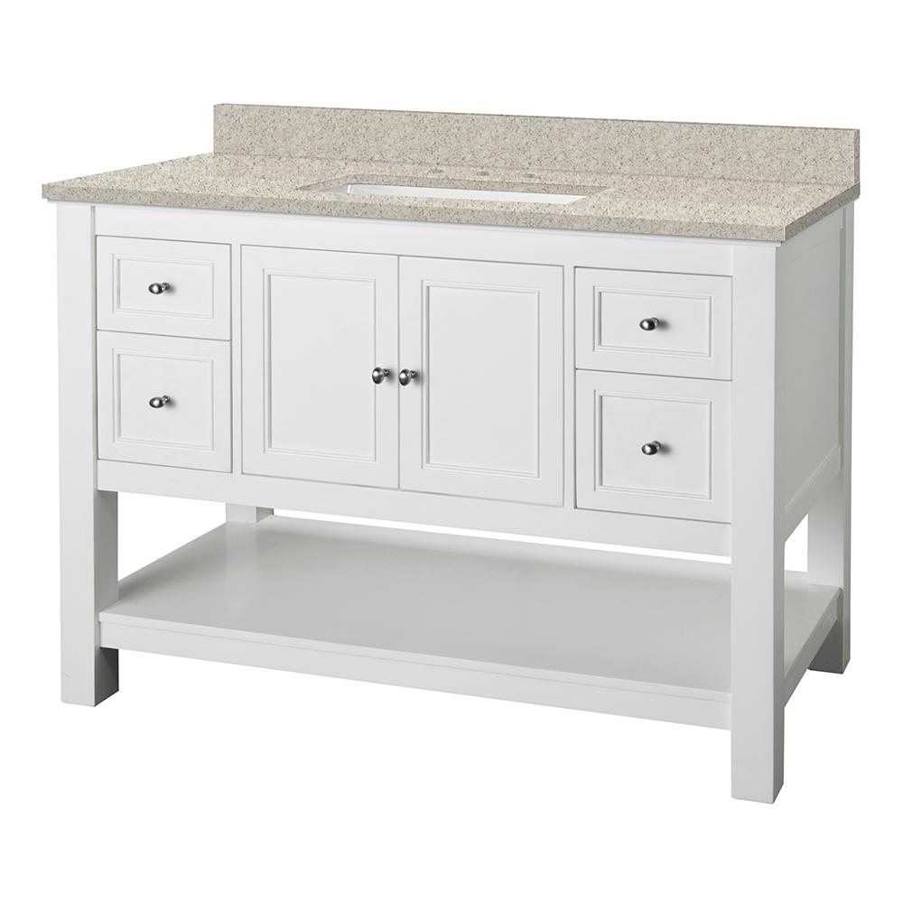 Home Decorators Collection Gazette 49 in. W x 22 in. D Vanity in White with Engineered Marble Vanity Top in Sedona with White Sink