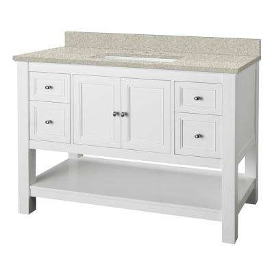 Gazette 49 in. W x 22 in. D Vanity in White with Engineered Marble Vanity Top in Sedona with White Sink