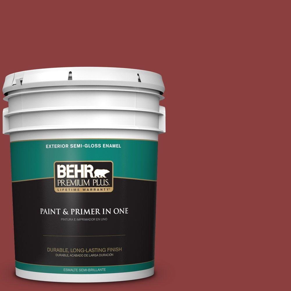 BEHR Premium Plus 5-gal. #BXC-27 Carriage Red Semi-Gloss Enamel Exterior Paint