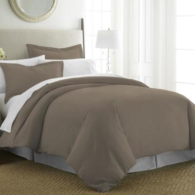 Performance Taupe Queen 3-Piece Duvet Cover Set