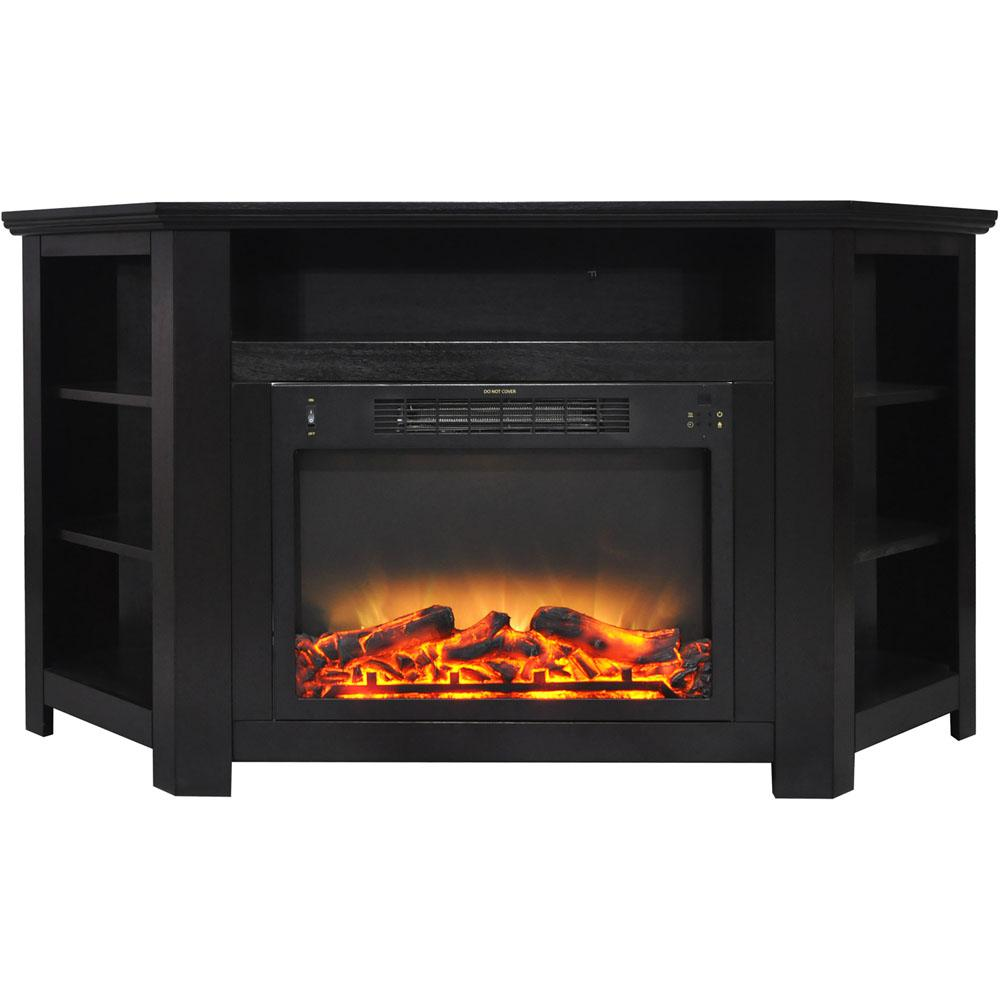 Stratford 56 in. Electric Corner Fireplace in Black Coffee with Enhanced