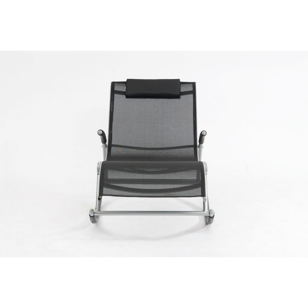 Monte Carlo Black Rocking Metal Outdoor Lounge Chair
