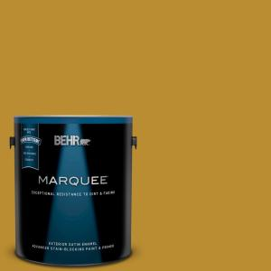 Behr Marquee 5 Gal 360d 7 Brown Mustard Satin Enamel Exterior Paint And Primer In One 945305 The Home Depot