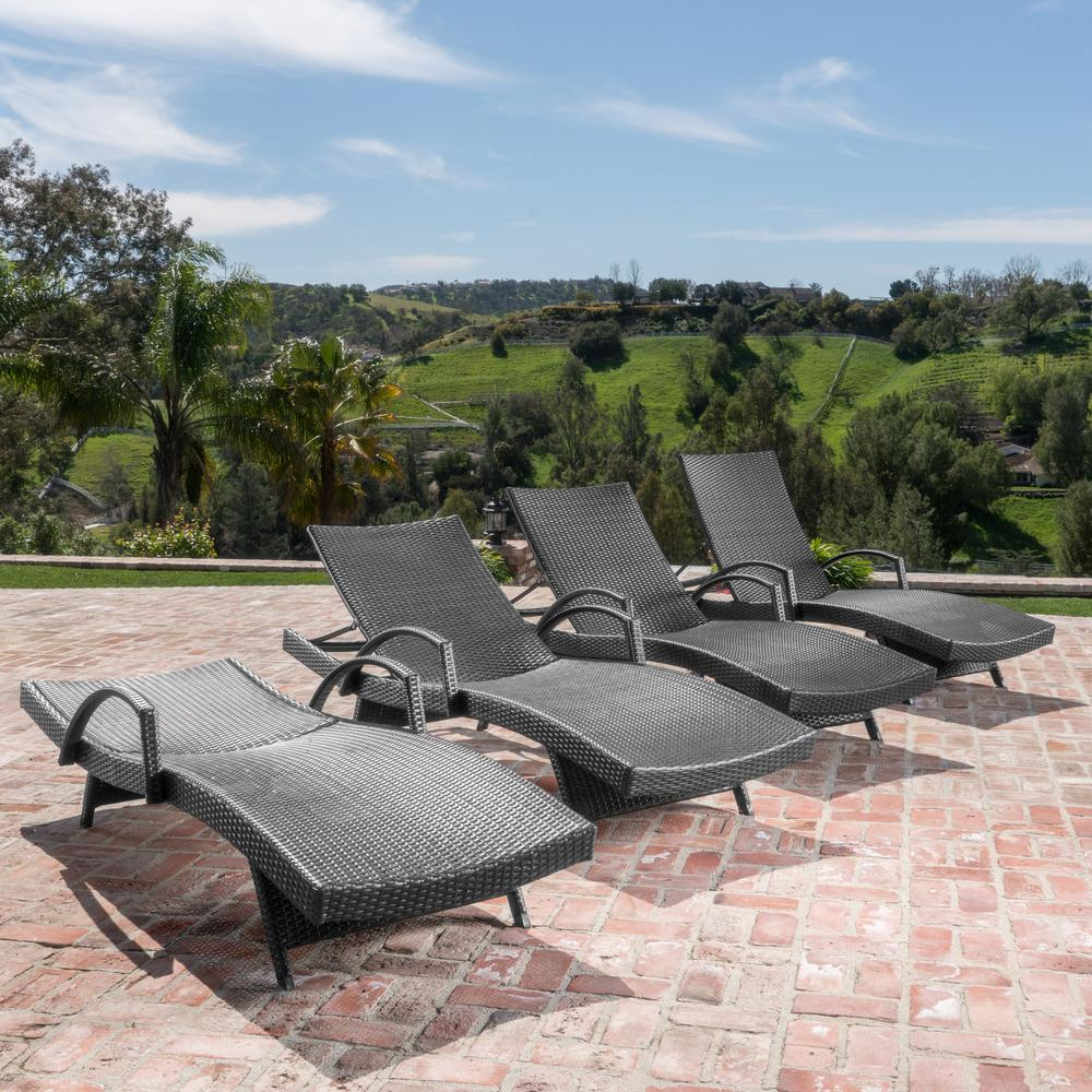 Noble House Miller Grey 4-Piece Wicker Adjustable Outdoor Chaise Lounge with Armrest