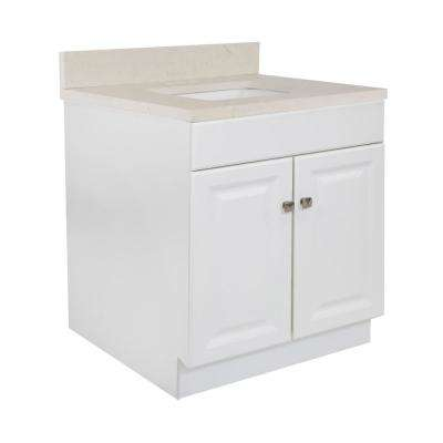 30 in. x 21 in. x 31.5 in. 2-Door Bath Vanity in White w/ 4 in. Centerset Giallo Quartz Vanity Top w/ White Basin