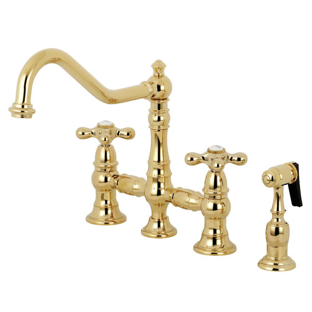 Restoration 2-Handle Bridge Kitchen Faucet with Side Sprayer in Polished Brass